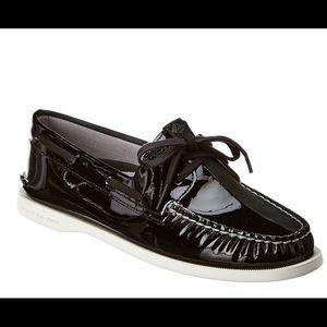 Sperry Authentic Black on Black leather Boat Shoes